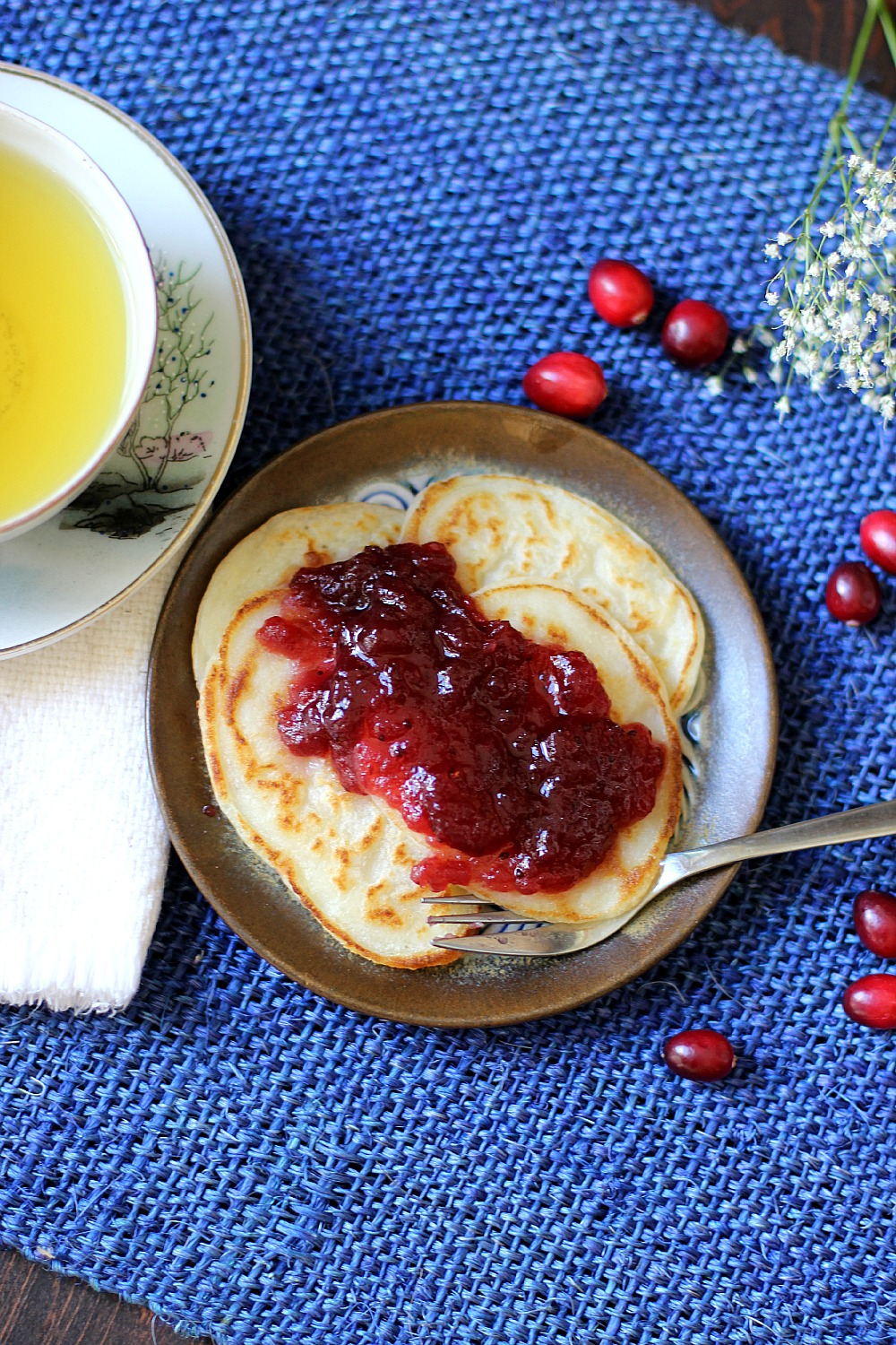 Mashed potato pancakes with cranberry sauce