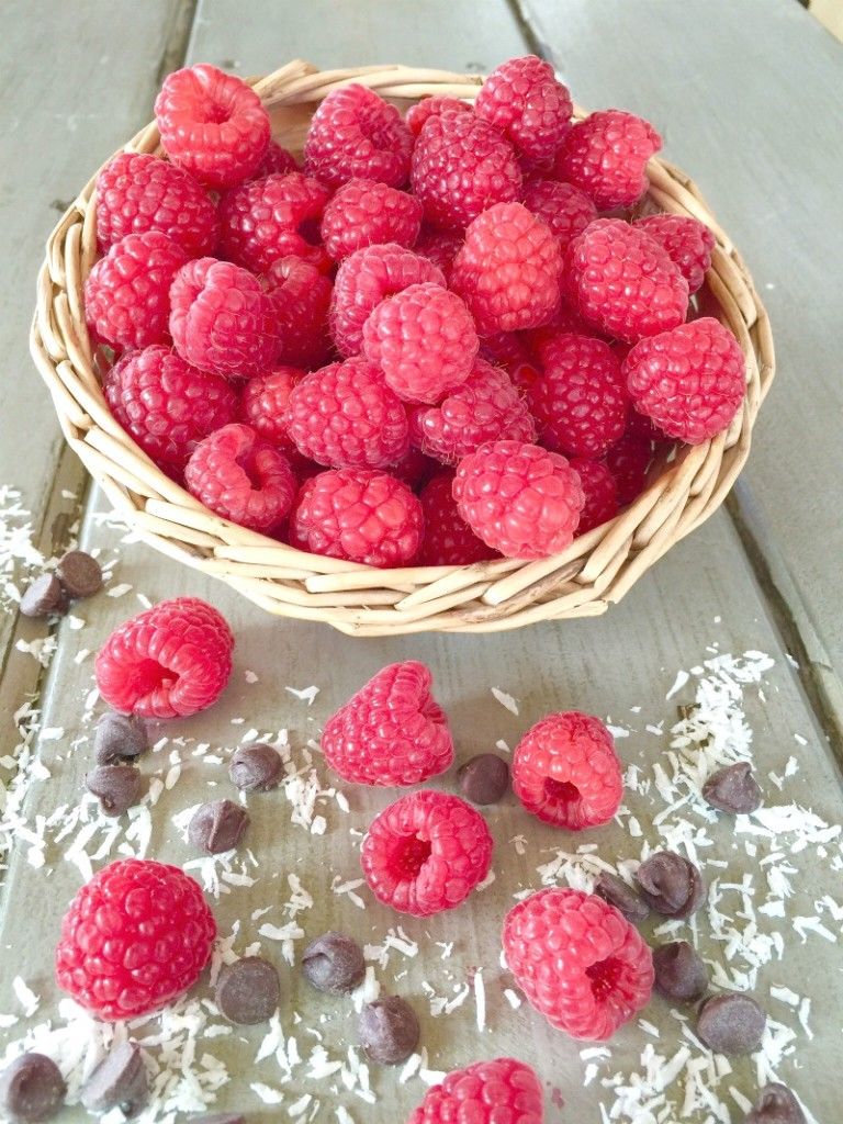 Basket of raspberries, chocolate chips and coconut
