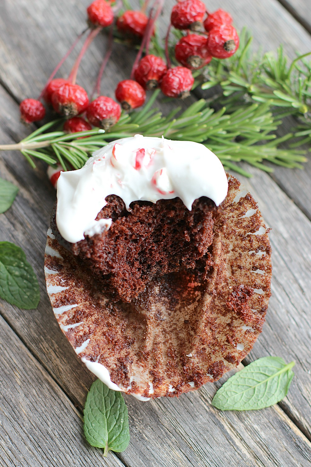 Vegan Chocolate Peppermint Cupcake with Coconut Cream Frosting