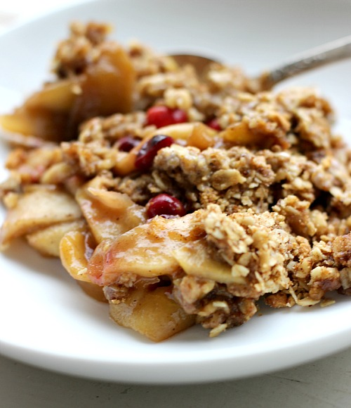 Bowl of Apple Cranberry Crisp