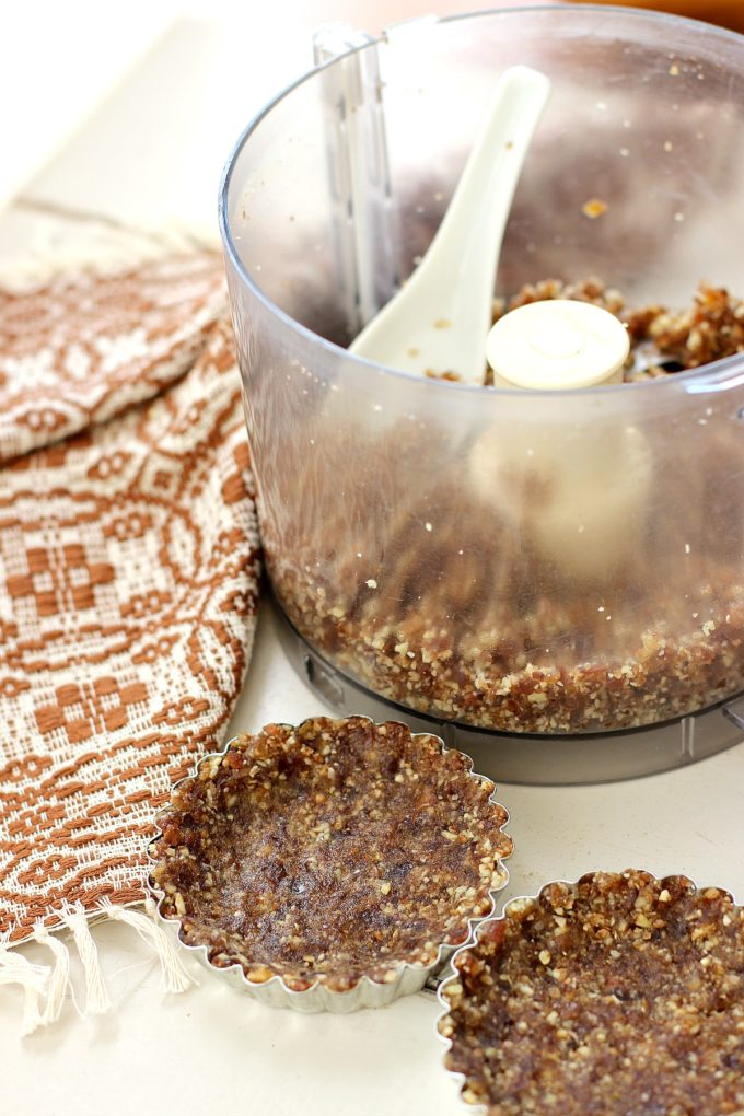 Raw Date and Pecan Tart Crust in a food processor