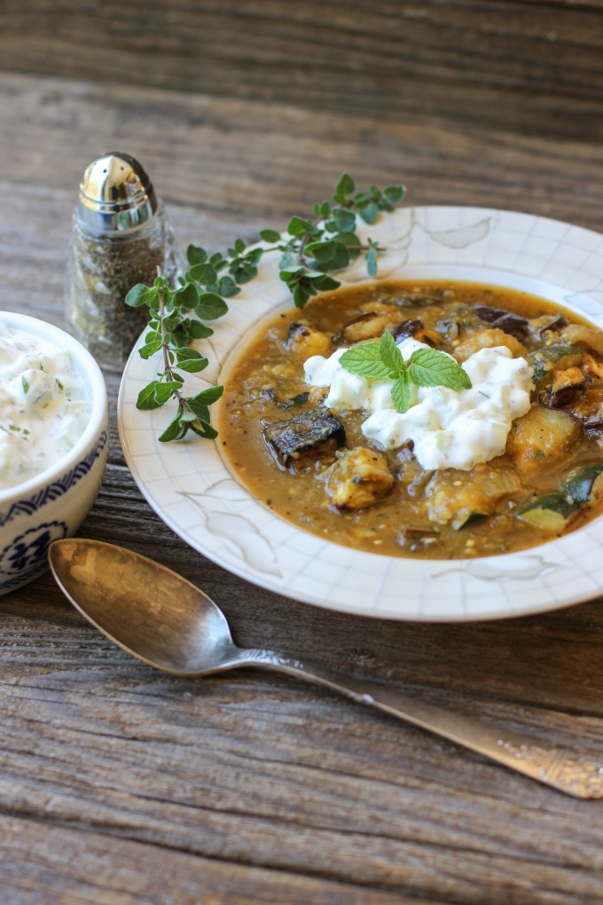 Roasted Eggplant and Zucchini Soup topped with Tzatziki
