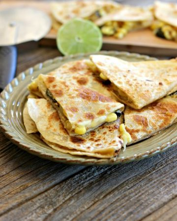 Roasted Poblano Chili Corn Quesadillas