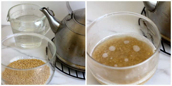 image of bulgur wheat in clear bowl with tea kettle and boiling water to soak bulgur in