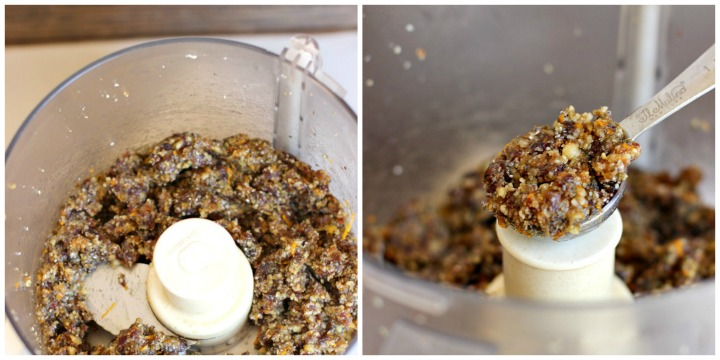 A 2 image collage. On left date ball mixture processed and on right a tablespoon scoop of the date mixture.