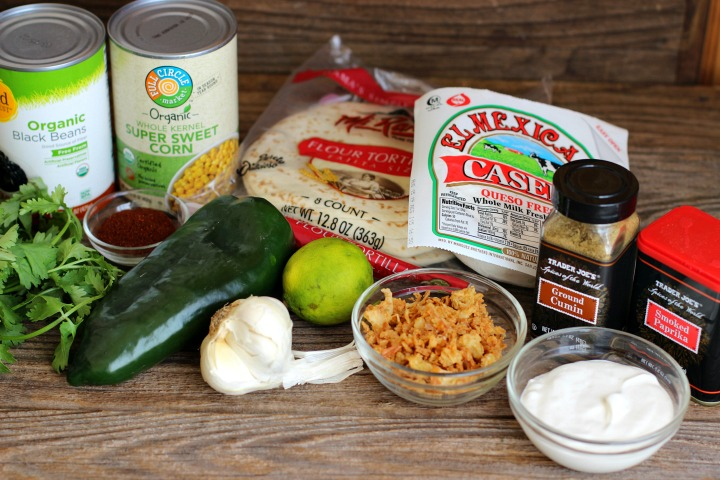 Vegetarian Black Bean Taco Ingredients - black beans, corn, poblano pepper, queso fresco, tortillas, cilantro and spices