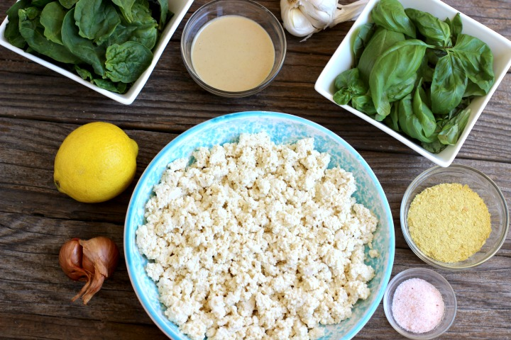 Tofu ricotta ingredients, crumbled tofu, lemon, shallots, garlic, tahini, nutritional yeast, spinach, basil and salt
