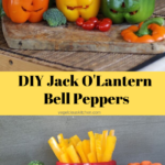 3 carved Jack O'Lantern bell peppers filled with veggie sticks