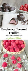 2 photo Pinterest graphic top chocolate covered raspberry truffles on a white cloth napkin and bottom photo of a basket of fresh raspberries
