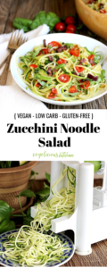 2 photo Pinterest graphic on top colorful bowl of zucchini noodles with tomatoes and kalamata olives and bottom photo of making zucchini noodles with a spiralizer machine