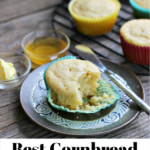 Pinterest graphic with cornbread muffin with a bite taken out on a brown plate with a small knife and muffins on a rack in the background