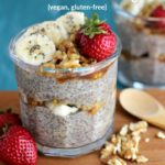 Pinterest graphic of a glass jar of chia pudding topped with bananas, walnuts and strawberries