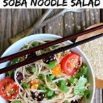 Pinterest graphic with bowl of colorful soba noodle salad in a white bowl with chopsticks on top of the bowl