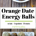 2 photo pinterest graphic top white bowl with date balls bottom white plate with 4 varieties of topping for date balls, hemp hearts, plain, walnut and coconut