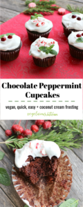 2 photo Pinterest graphic top 5 chocolate cupcakes with white coconut cream frosting and fresh mint leaves on a red tablecloth and bottom chocolate cupcake with a bite taken out of it on a rustic wooden surface