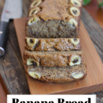 Pinterest graphic of a banana bread with three pieces sliced on a wooden cutting board with a knife in the background