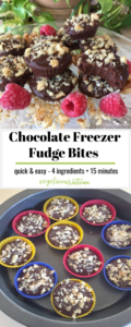 2 photo Pinterest graphic with a clear glass plate of chocolate freezer fudge topped with walnuts and a few raspberries and bottom pan of chocolate freezer fudge in colorful silicon molds