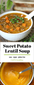 2 photo Pinterest graphic top white bowl with lentil soup and sweet potato cures topped with a sprig of thyme and bottom creamy blended sweet potato in a silver bowl with a silver spoon in it