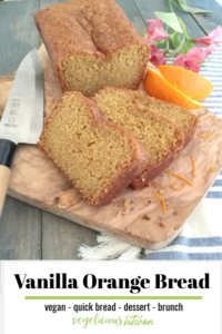 Pinterest graphic of slices of vanilla orange bread on a cutting board with a knife
