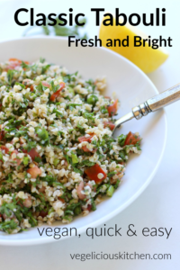 Pinterest graphic with white bowl of tabouli with a silver fork in it and lemon and parsley in the background