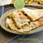 Pinterest graphic triangles of quesadilla with cheese, corn and poblano peppers on a green plate