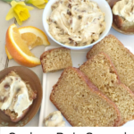 Pinterest graphic white bowl of cashew date spread above slices of vanilla orange quick bread