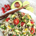Pinterest graphic of quinoa salad with tomatoes, corn, avocado and green onions in a white bowl with chopsticks
