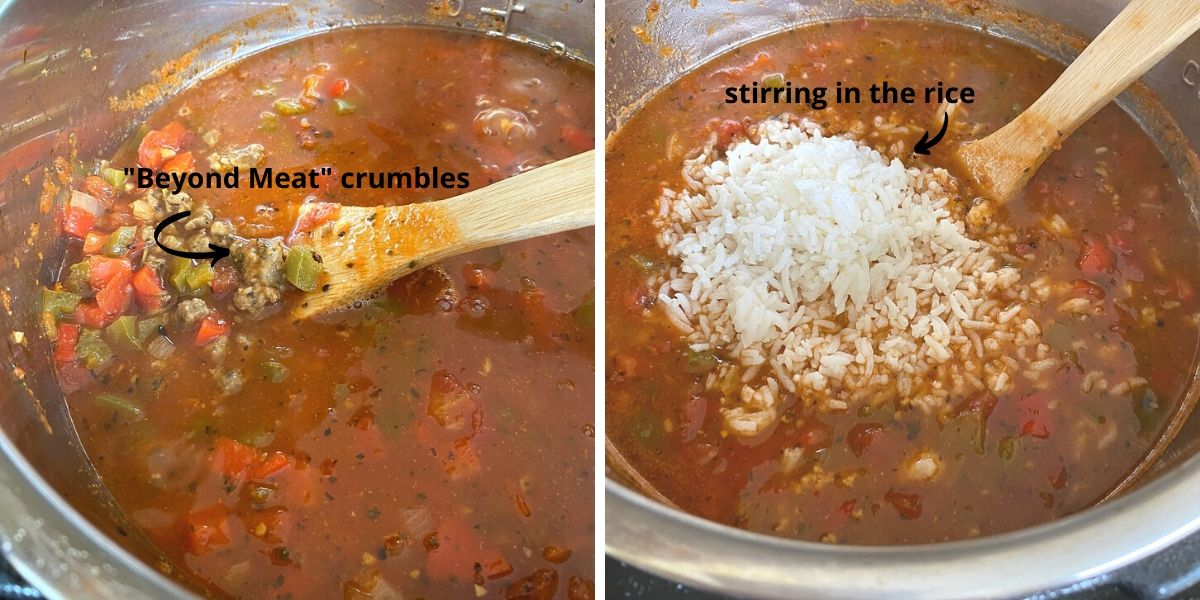 2 pic collage of stuffed pepper soup one showing beyond meat brand crumbles and the other showing rice on top of the soup before stirring into the soup