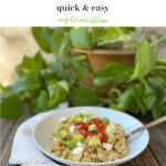 Pinterest graphic white bowl of Savory Breakfast Oatmeal