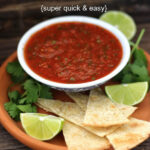 Pinterest graphic with a white bowl of salsa, chips, cilantro and limes